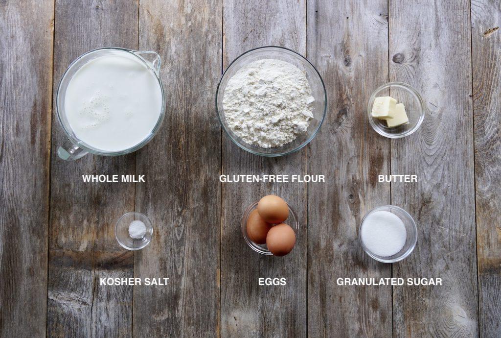 Ingredients for gluten-free Swedish pancakes