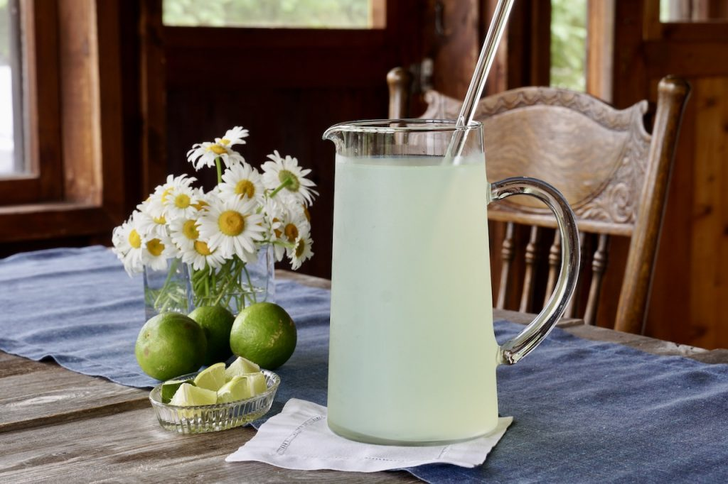 A pitcher of limeade for the margarita punch