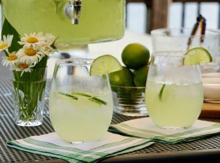 Refreshing margaritas served in salt-rimmed glasses