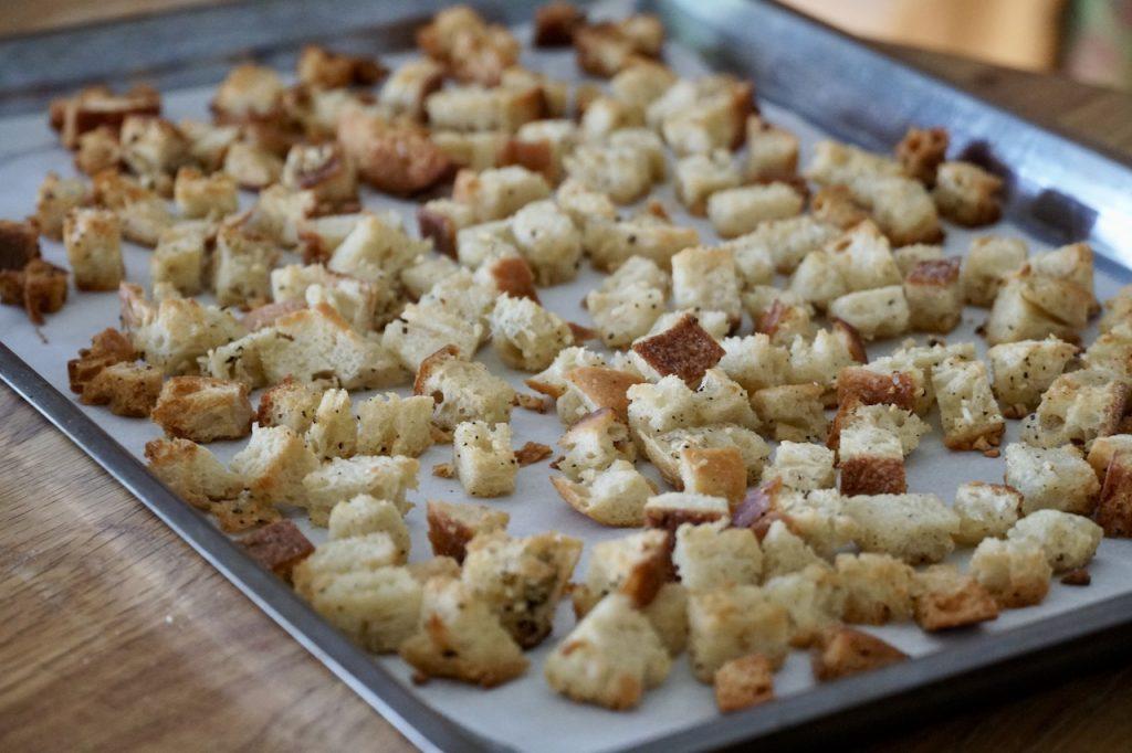 Crispy homemade garlic croutons