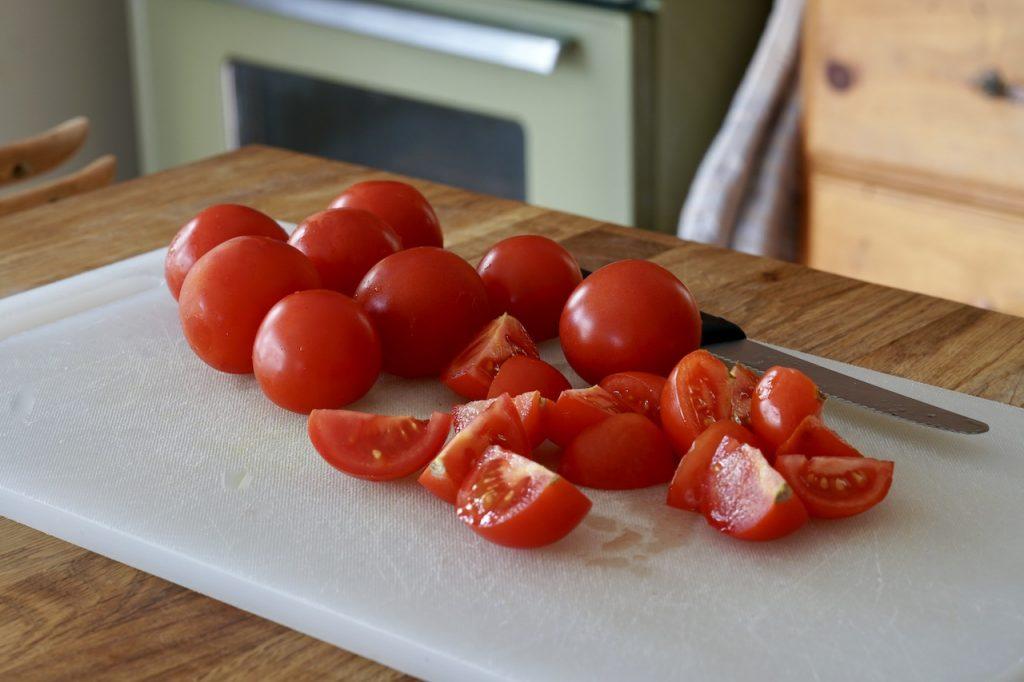 Quartered vine-ripened tomatoes