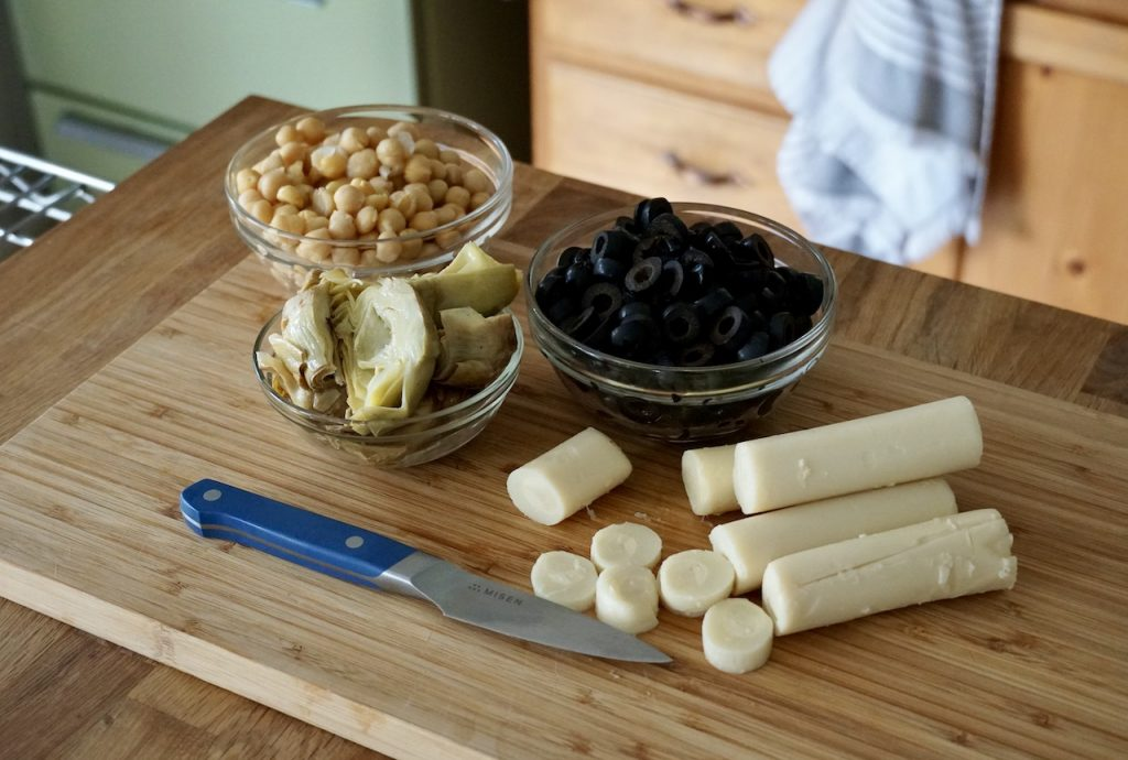 Marinated olives, artichokes, chick peas and hearts of palm.