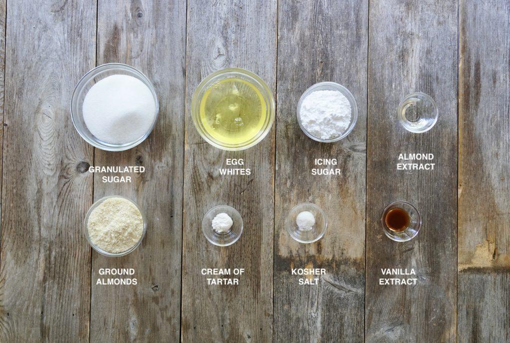 Ingredients for almond meringues