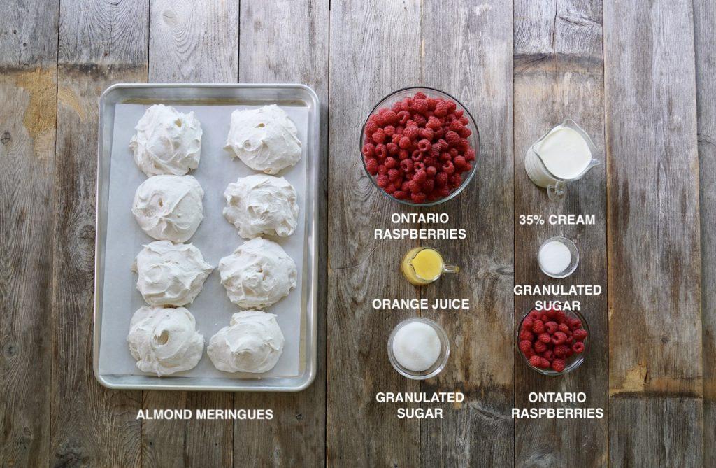Ingredients for Raspberry Eton Mess