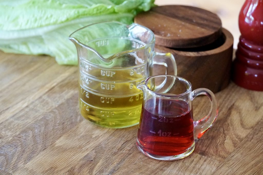 Extra virgin olive oil and red wine vinegar