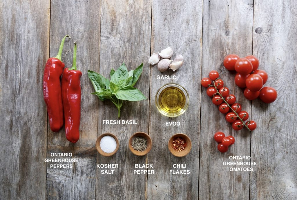 Ingredients for Sheet Pan Tomatoes and Peppers