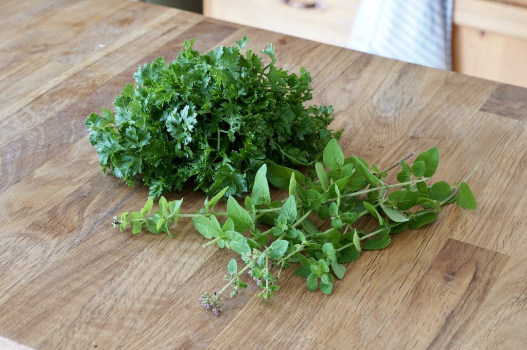 Fresh parsley and oregano