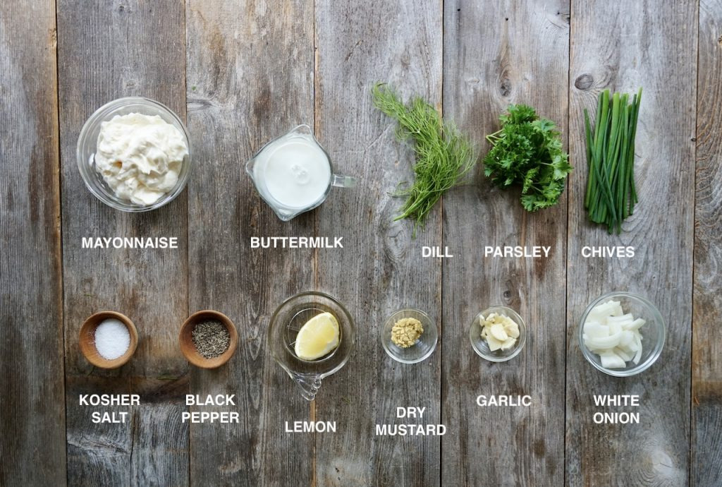 Ingredients for Creamy Buttermilk Ranch Dressing