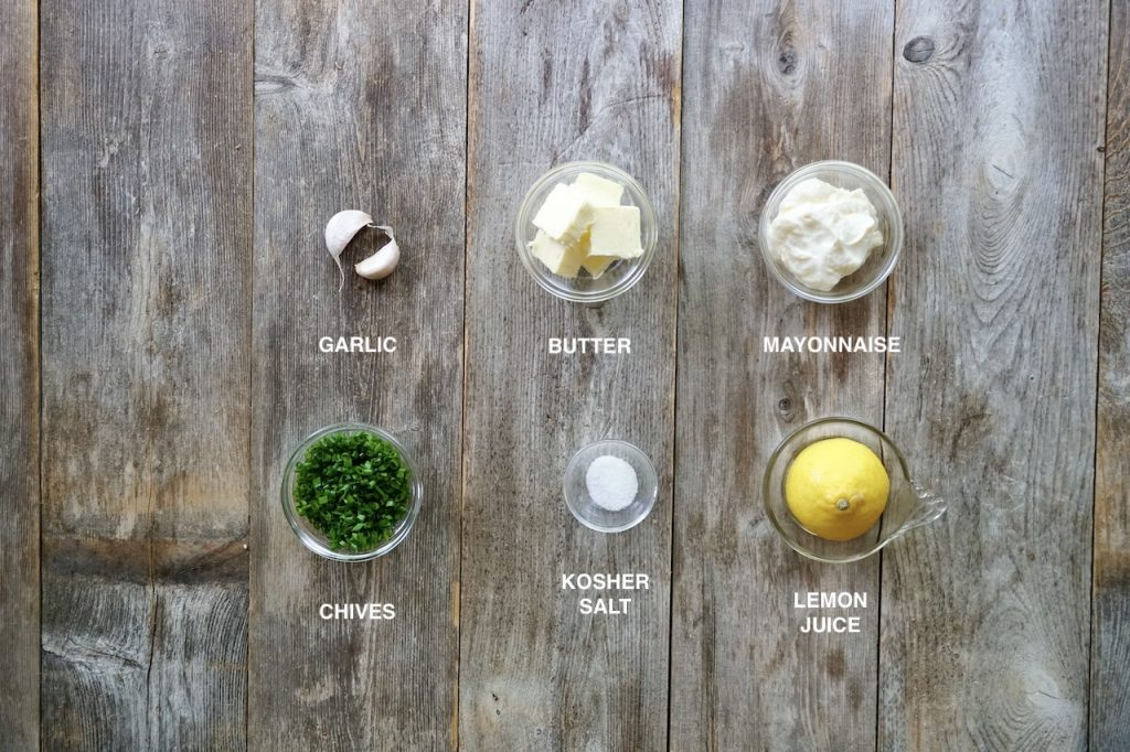 Ingredients for herbed garlic mayo