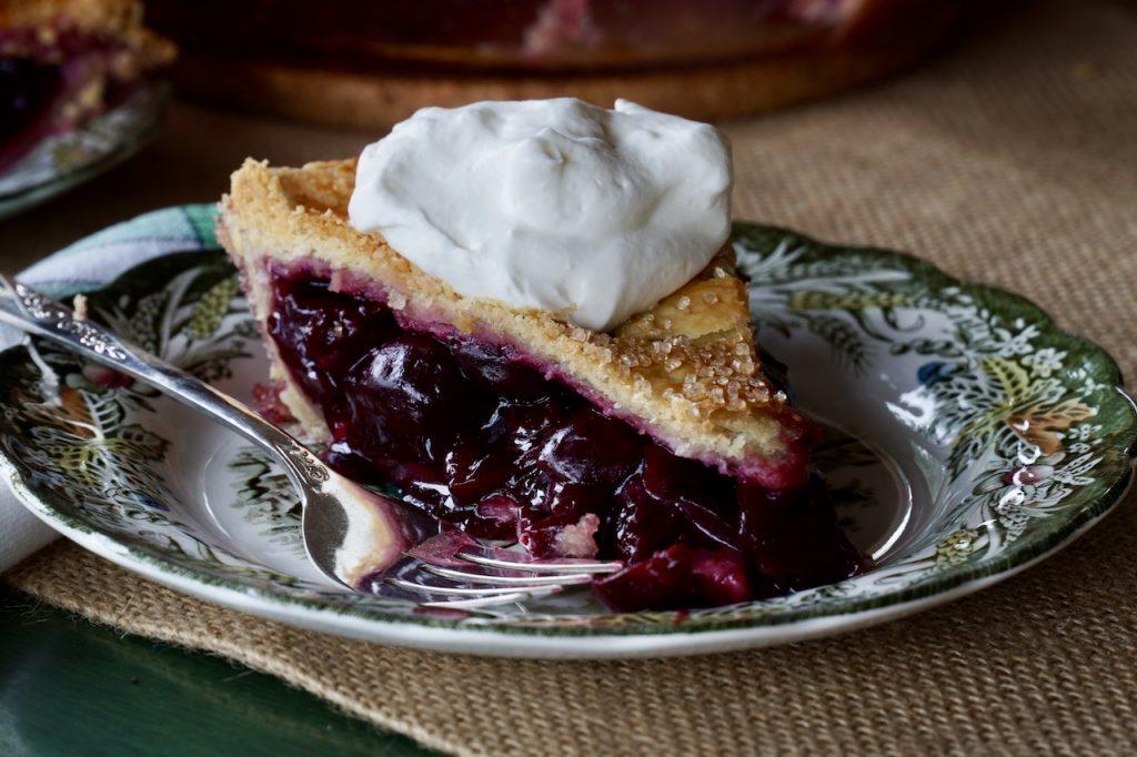 A perfect slice of freshly prepared Homemade Cherry Pie