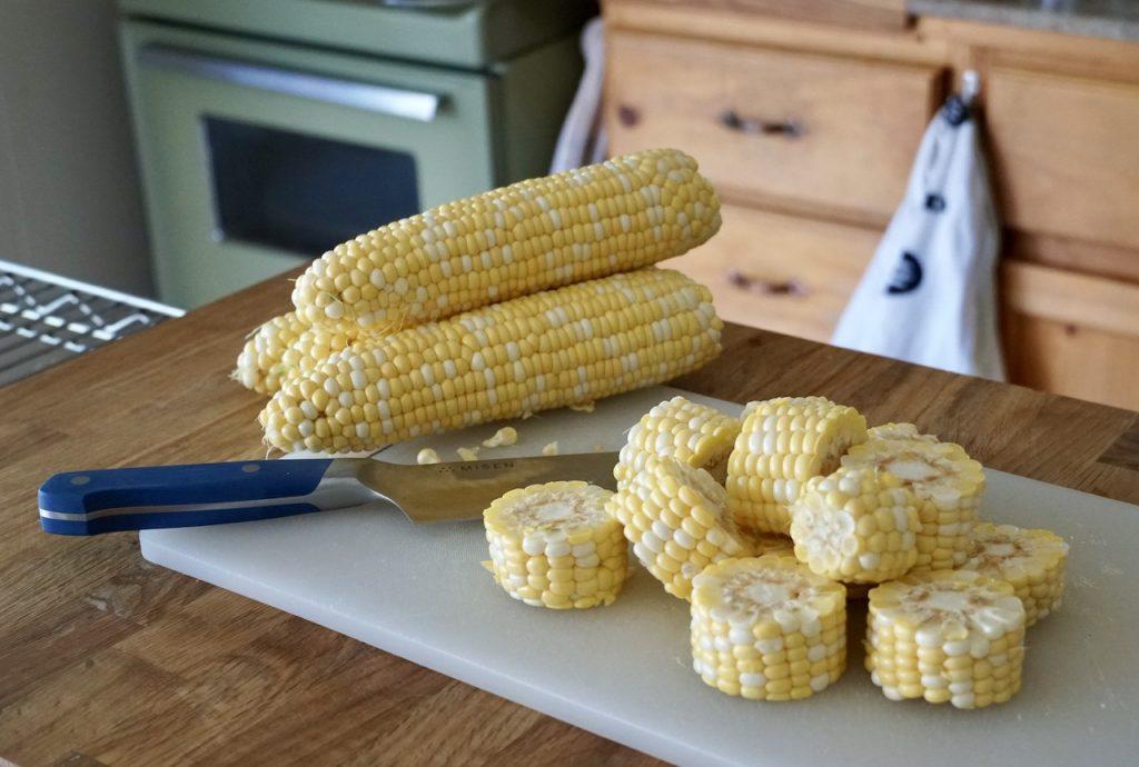 Fresh, sweet corn cut into cob nobss