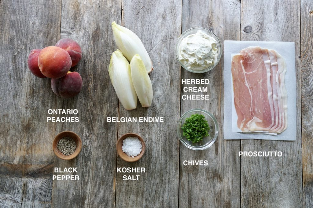 Ingredients for Peach and Prosciutto Appetizer