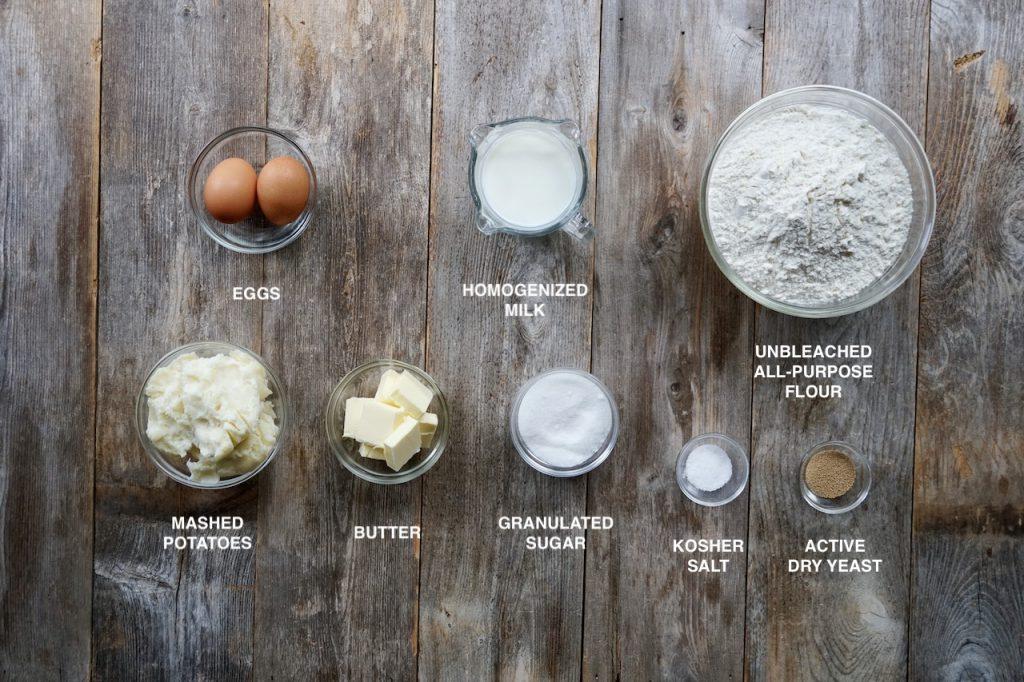 Ingredients for Mennonite Potato Dinner Rolls
