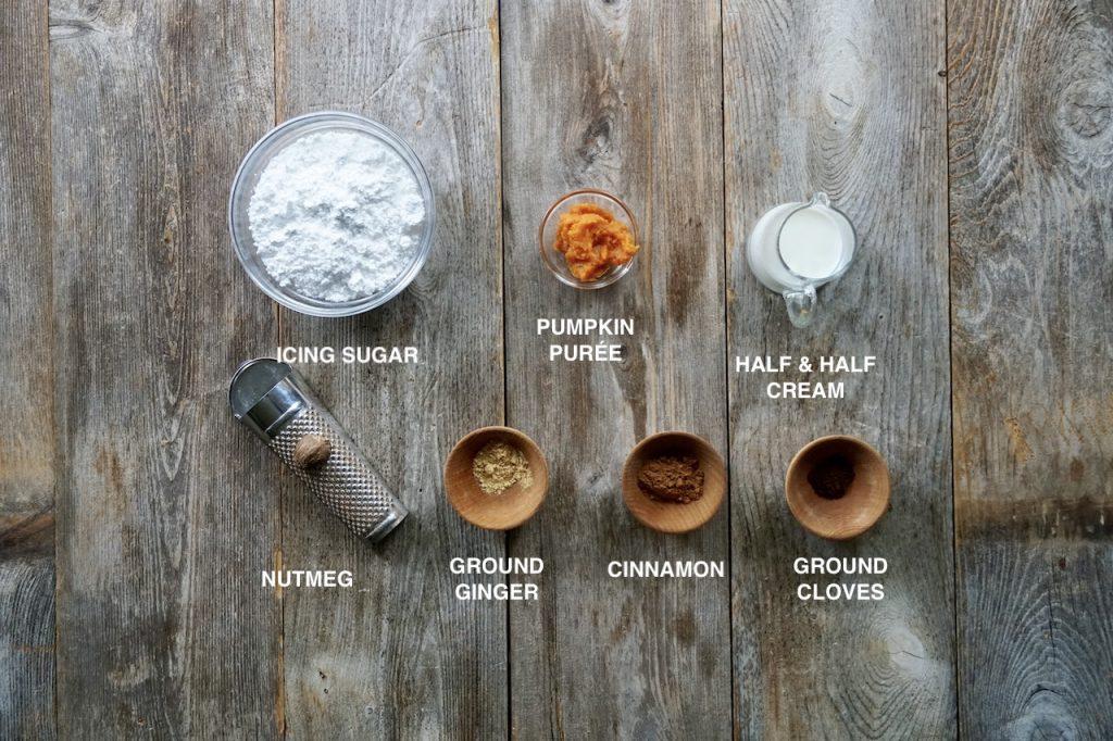 Ingredients for the pumpkin-spice glaze