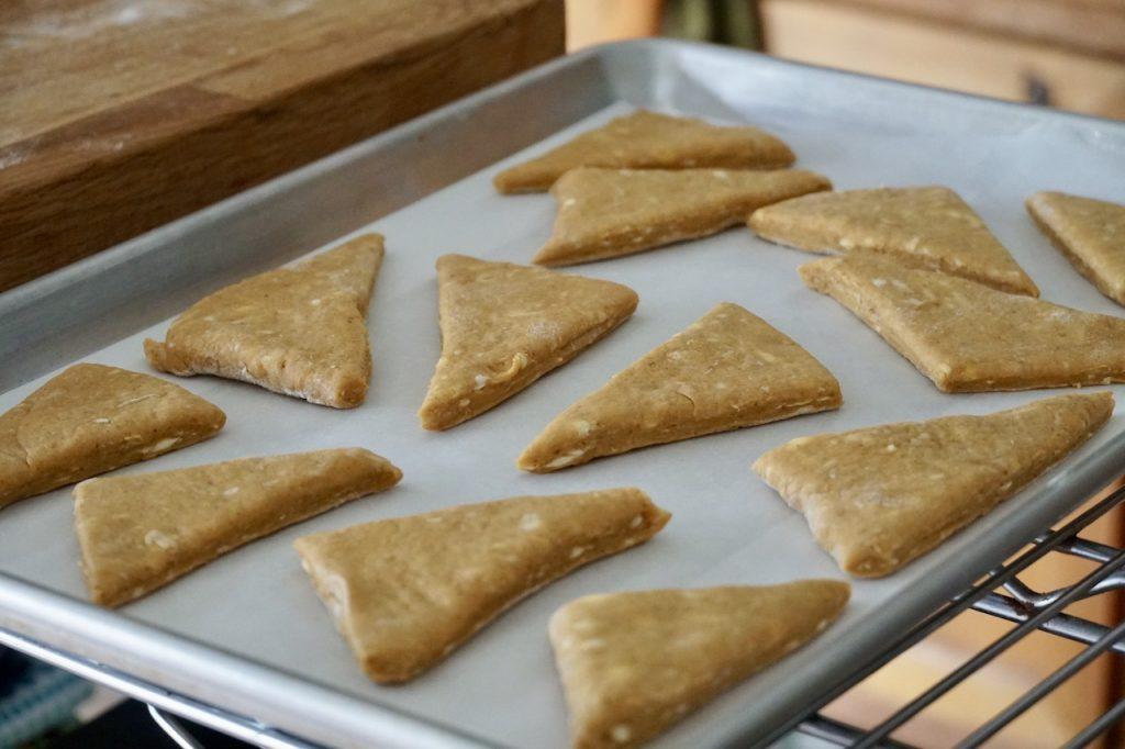 The pumpkin scones cut in their traditional triangular shape