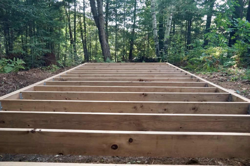 The foundation of the storage shed floor in place