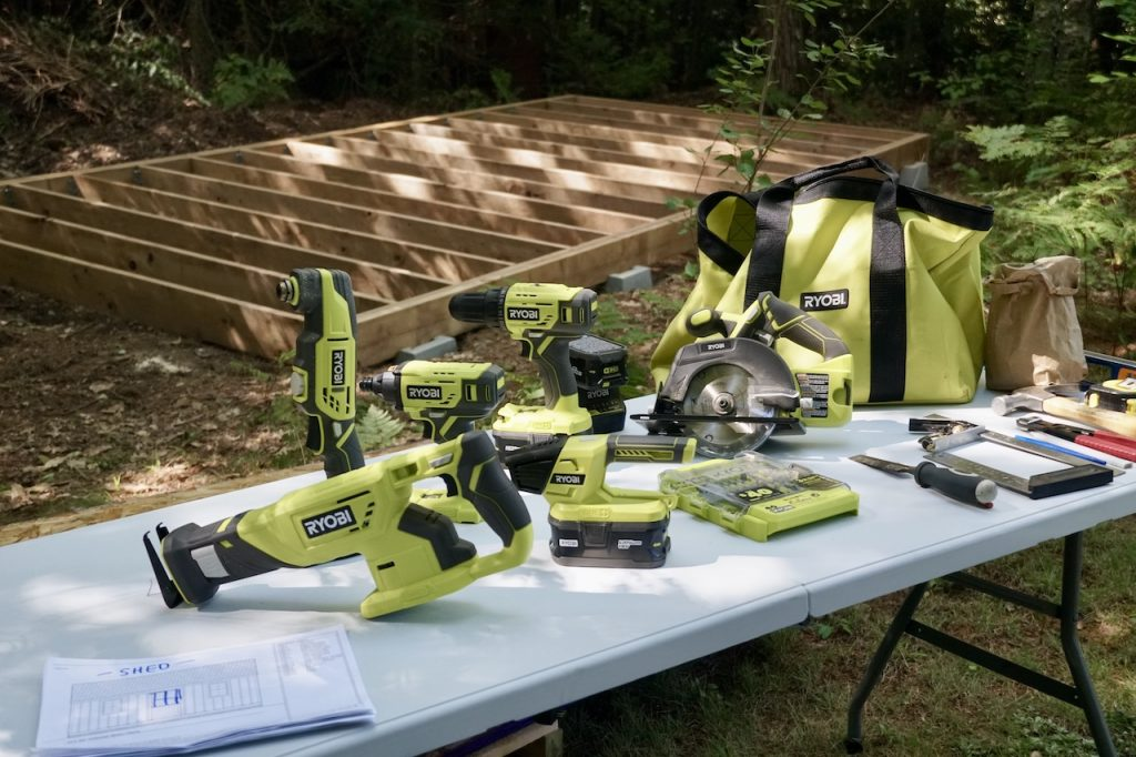 Ryobi hand tools used in the project