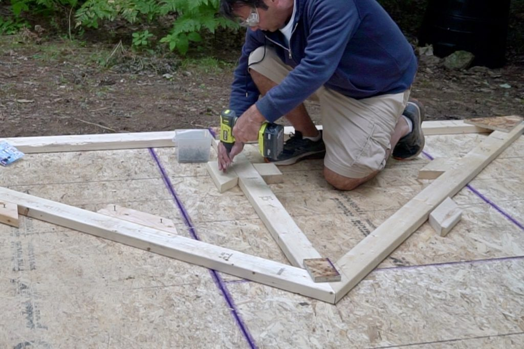 Laying out off-cuts to create a template for the truss