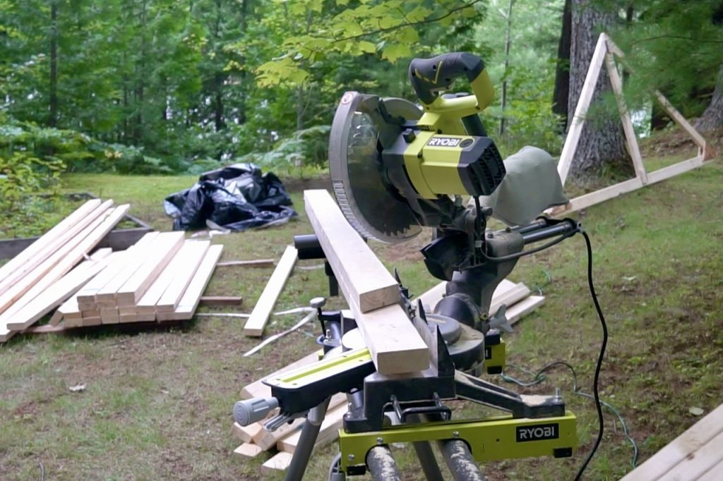 A mitre saw was essential to cutting angles