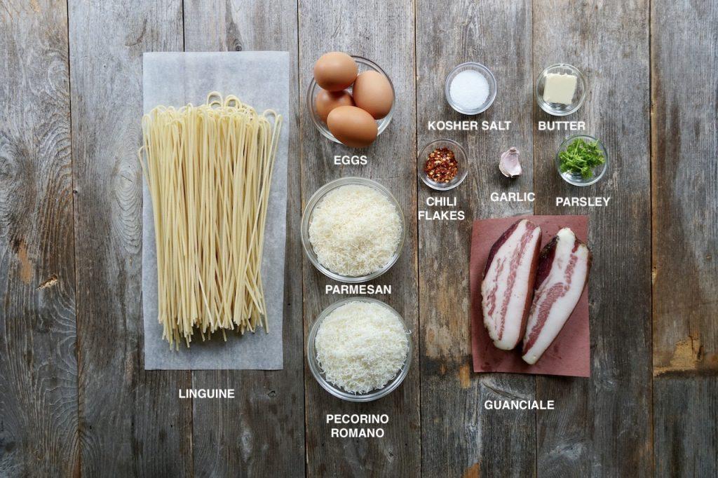 Ingredients for Linguine Carbonara