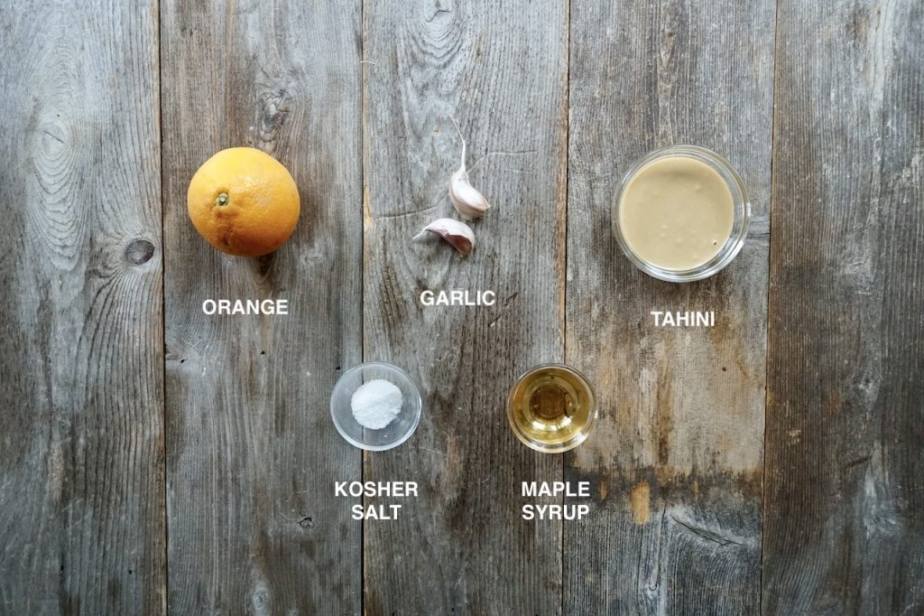 Ingredients for orange-tahini glaze
