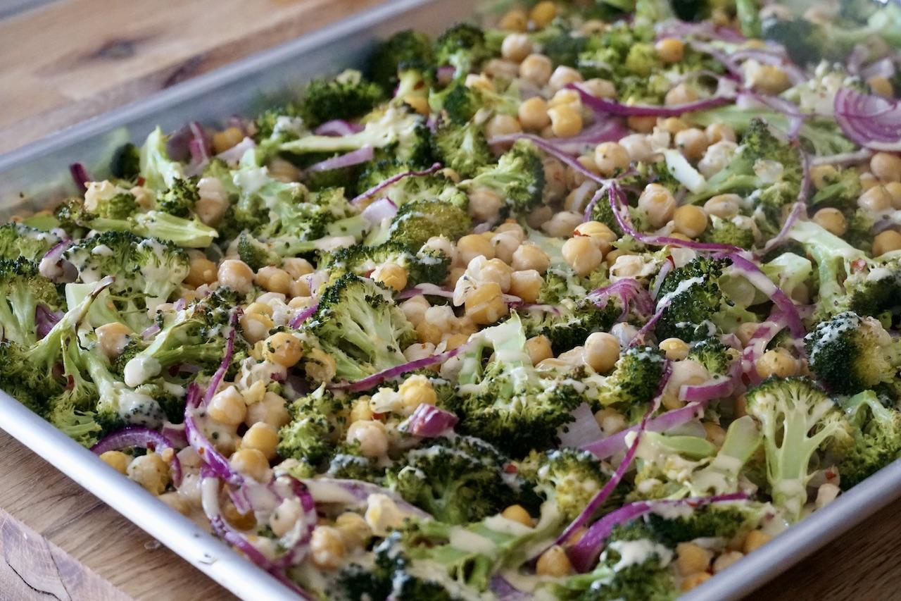 Oven-roasted broccoli with orange-tahini drizzle