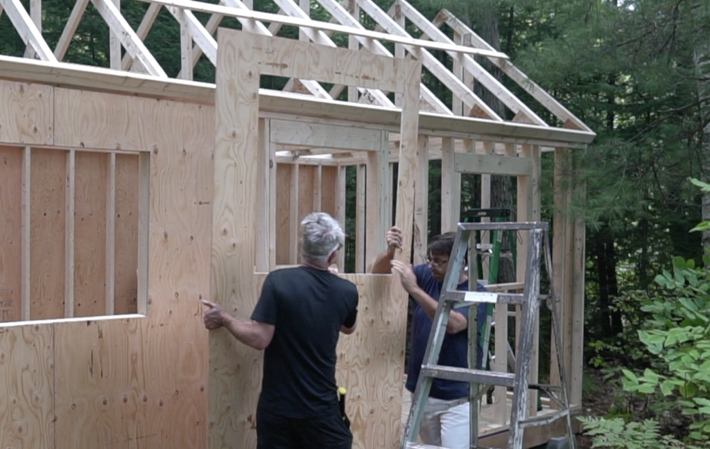 Cutting the window openings in  the plywood