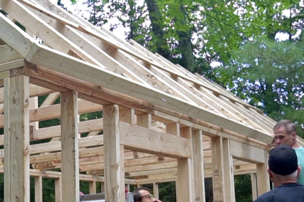 The trim is attached to the ends of the trusses