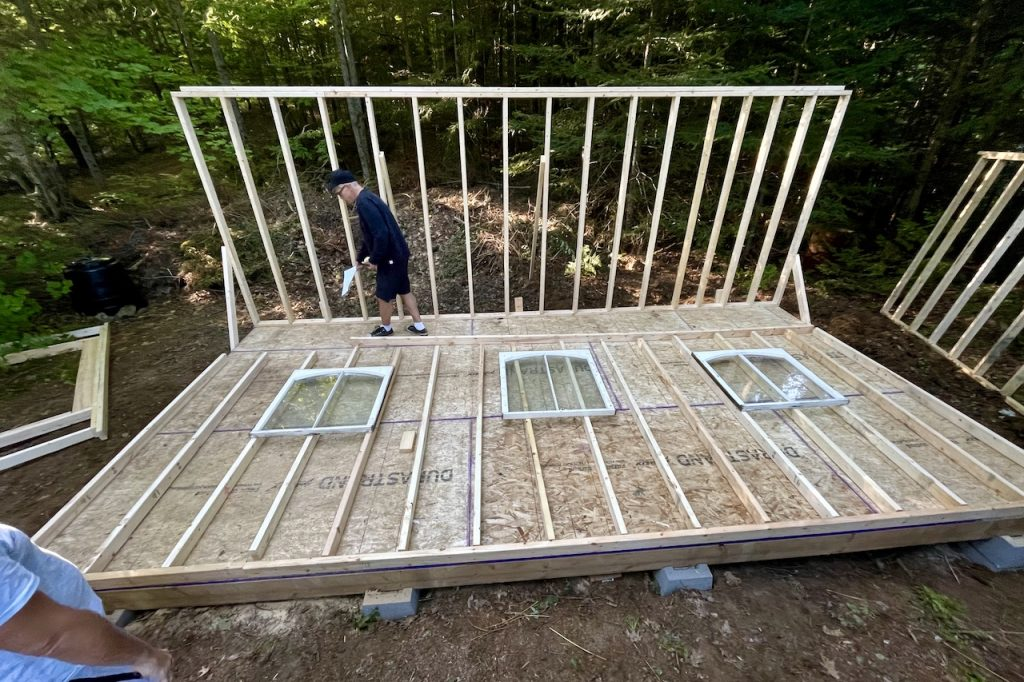 Laying the windows in place before designing the final wall